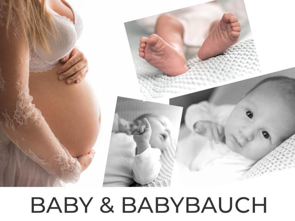 Babybauch und Babyfotos