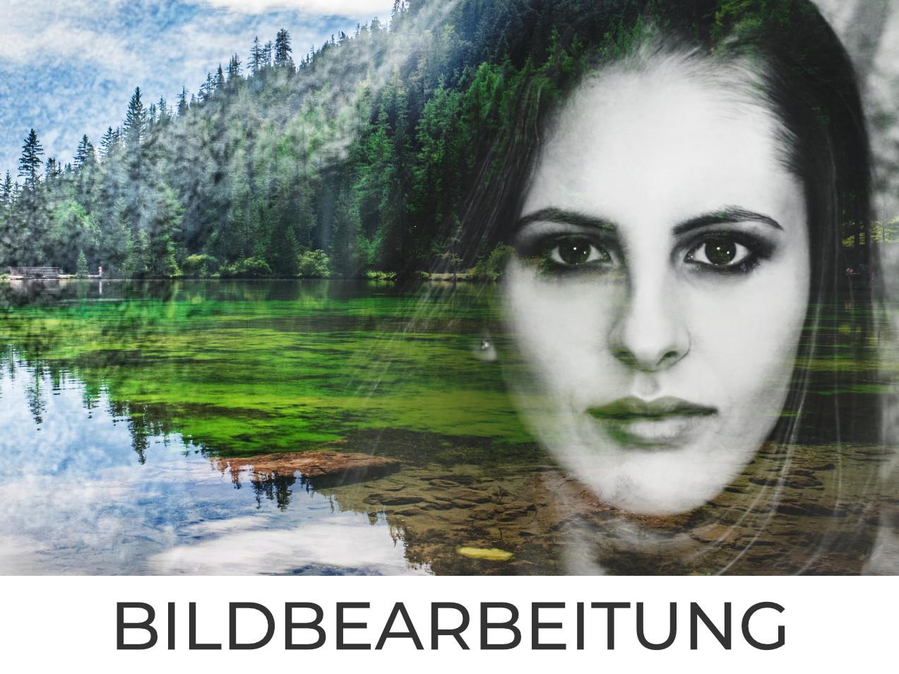 digitales Composing Mädchen und See und Wald