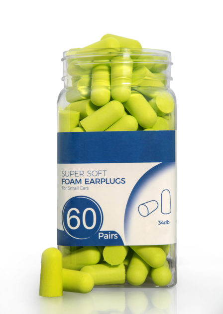 ohrstöpsel neongrün produktpackung produktfoto