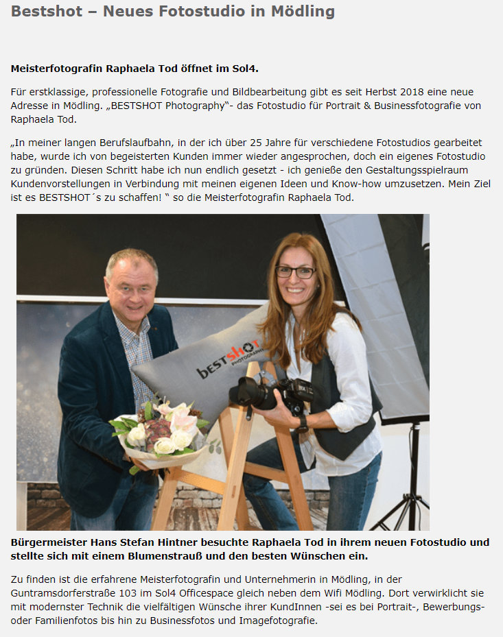 Der mödlinger Bürgermeister Stefan Hintner zu Besuch im Fotostudio Bestshot Photogaphy