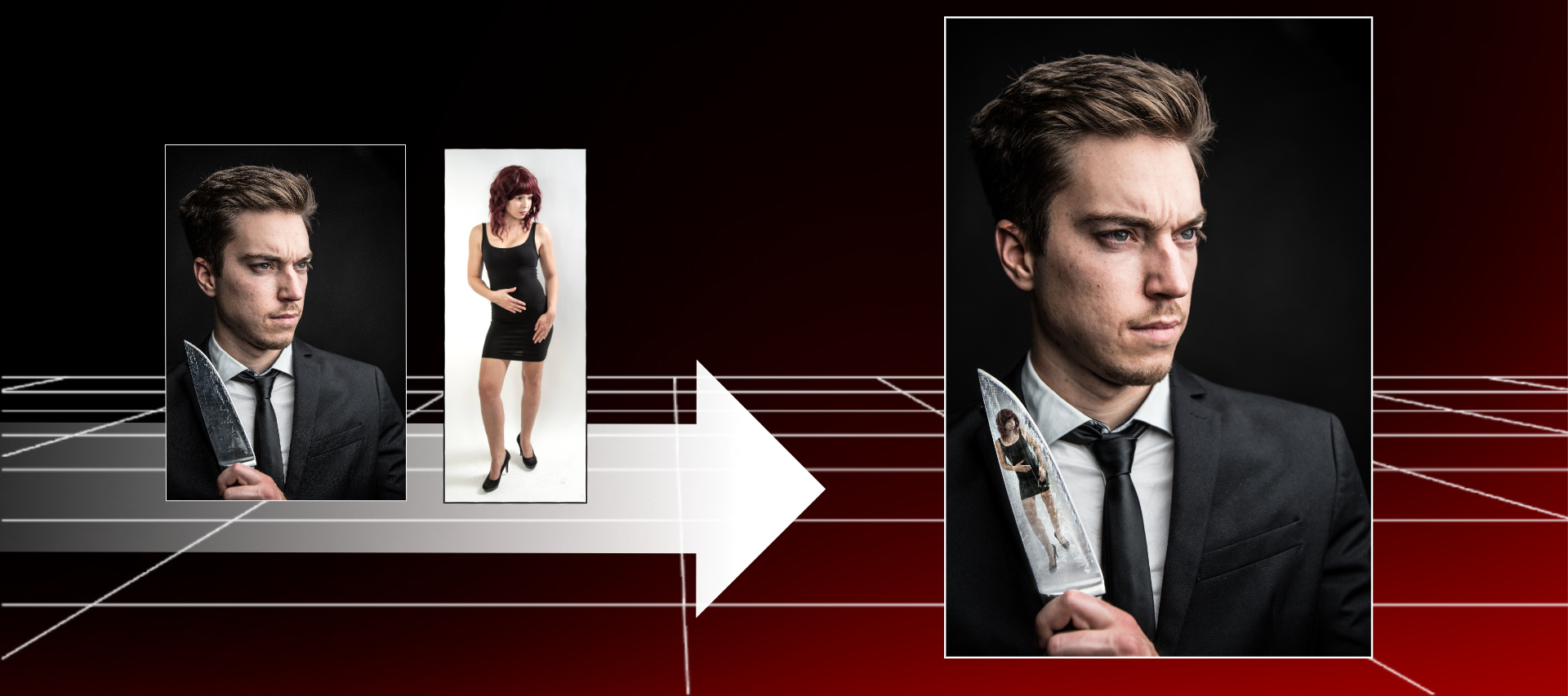 Fotomontage zum Filmthema American Psycho