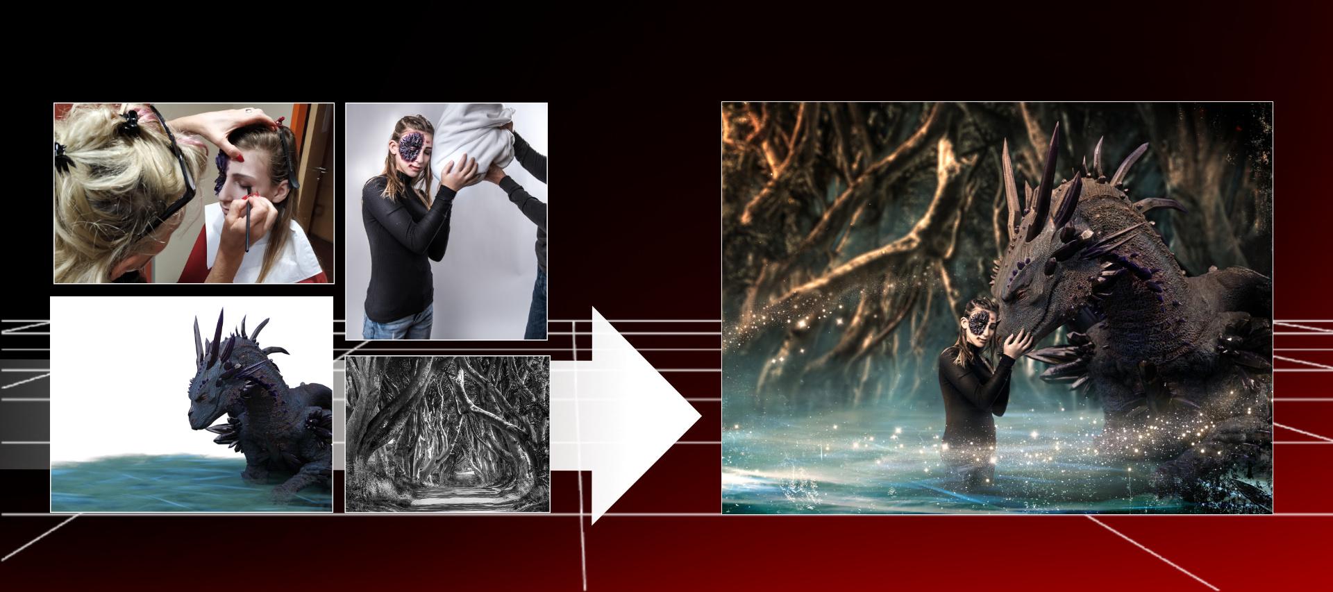 Composing, digitale Bildmontage Drachenmagie